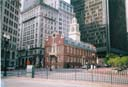 "The building where the Queen re-read the declaration of Independence during the bi-centential celebrations, Boston. Followed by a presentation of a cheque from the US Government paying for the tax due on the tea wasted at the Boston ""Tea Party""."